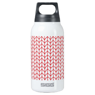 Hand Knit Red/White Insulated Water Bottle