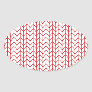 Hand Knit Red/White Oval Sticker
