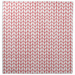 Hand Knit Red/White Printed Napkin