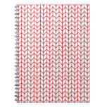 Hand Knit Red/White Spiral Note Book