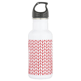 Hand Knit Red/White Stainless Steel Water Bottle