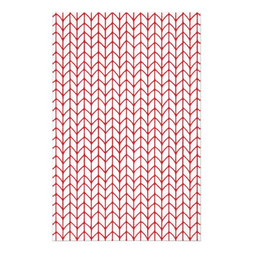 Hand Knit Red/White Stationery Paper