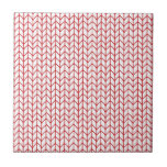 Hand Knit Red/White Tiles