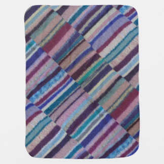 hand knitted colorful striped blocks design baby blanket