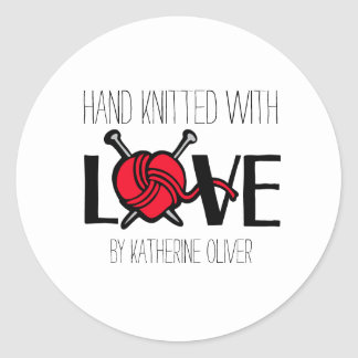 Hand knitted knitters red wool gift stickers