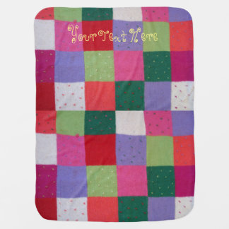 hand knitted patchwork colourful traditional swaddle blanket