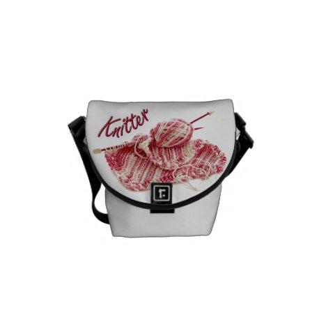 Hand Knitting Photo Pink/White Garter Stitch Messenger Bag