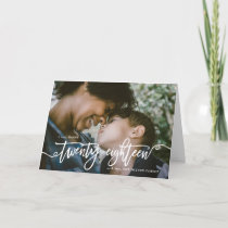 Hand Lettered A Very Happy New Year 2018 Photo Holiday Card