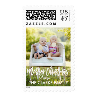 Hand Lettered Brush Script Holiday Photo Postage