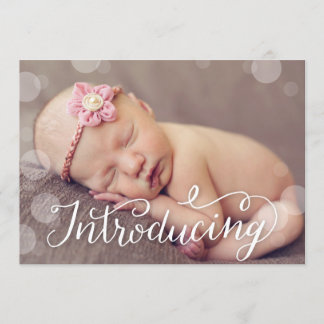 Hand Lettered Bubble Dot Photo Birth Announcement