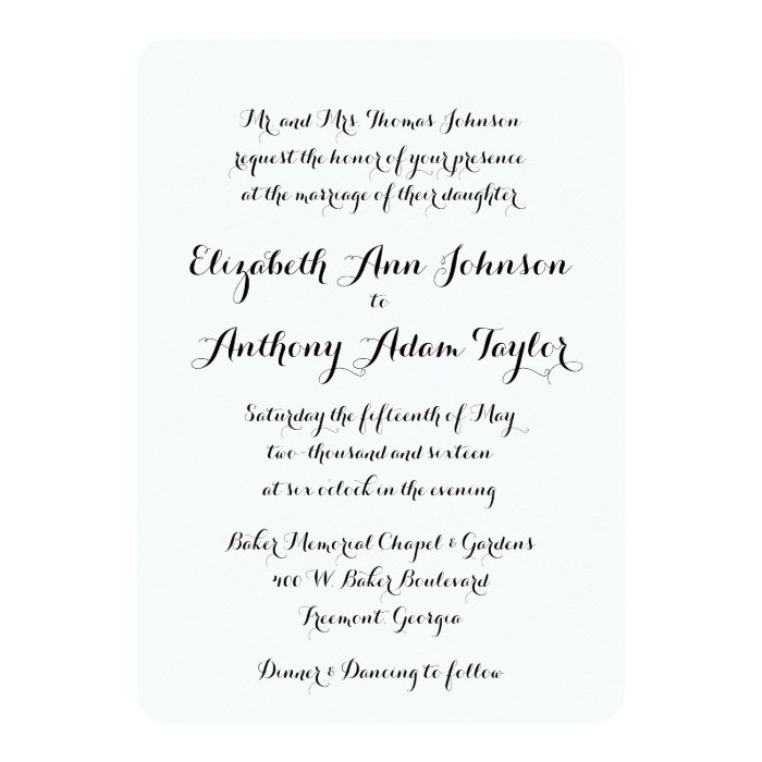 Hand Lettered Calligraphy Wedding Invitation Zazzle