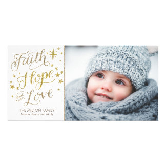 Hand Lettered Faith Hope Love Religious Christmas Card