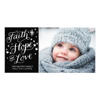 Hand Lettered Faith Hope Love Religious Christmas Card