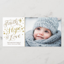 Hand Lettered Faith Hope Love Religious Christmas Holiday Card