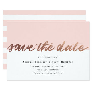 Hand lettered faux foil save the date announcement