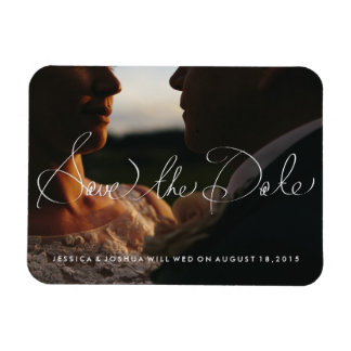 Hand Lettered Fridge Magnet Photo Save the Date SM