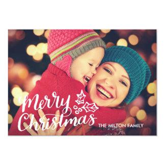 Hand Lettered Full Photo Christmas Card