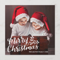 Hand Lettered Full Photo Square Christmas Card