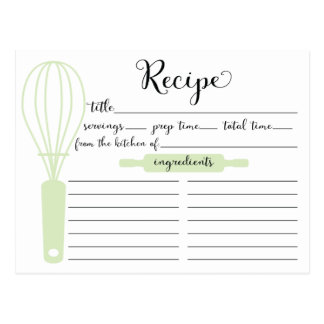 Hand Lettered Green Bridal ShowerRecipe Card