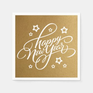 HAND-LETTERED HAPPY NEW YEAR | PARTY NAPKIN STANDARD COCKTAIL NAPKIN