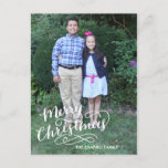 "Hand Lettered Holiday Card<br><div class=""desc"">This full bleed photo holiday postcard features hand lettered calligraphy artwork that says &quot;Merry Christmas.&quot; Add a return address and photo to the back.</div>"