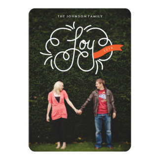 "hand lettered ""joy"" full-bleed holiday photo cards"