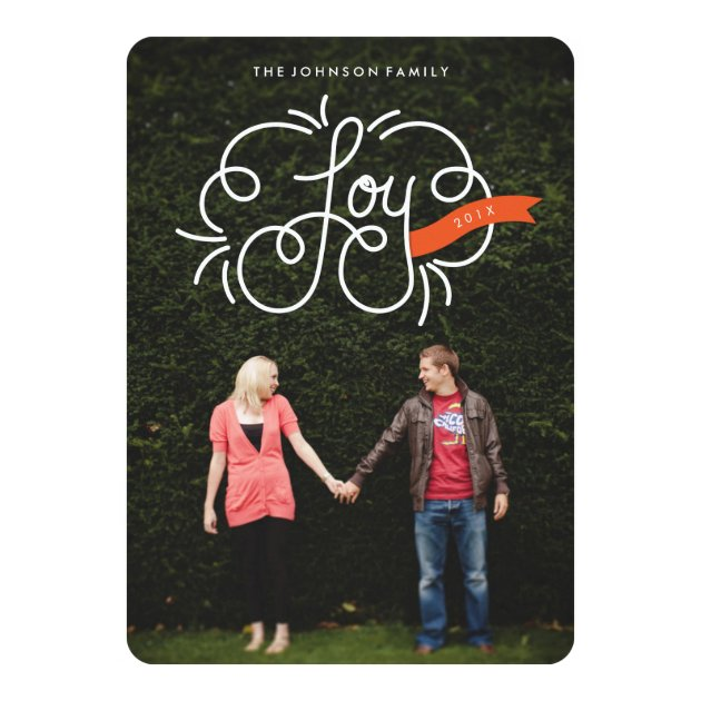 """hand lettered """"joy"""" full-bleed holiday photo cards"""