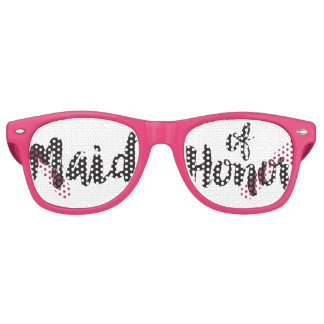 Hand Lettered Maid of Honor Swag Party Glasses Retro Sunglasses