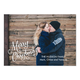 Hand Lettered Merry Christmas Full Photo Card