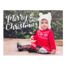 Hand Lettered Merry Christmas Full Photo Postcard