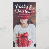 Hand Lettered Merry Christmas Full Photocard Holiday Card