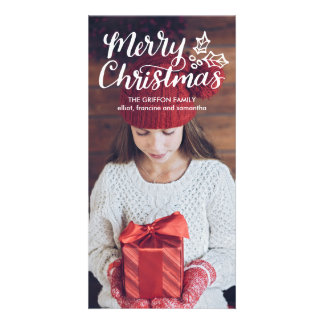 Hand Lettered Merry Christmas Full Photocard Photo Card