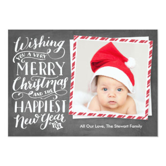 Hand Lettered Merry Christmas Happy New Year 5x7 Paper Invitation Card