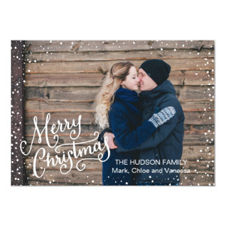Hand Lettered Merry Christmas Snow Full Photo 5x7 Paper Invitation Card