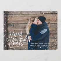 Hand Lettered Merry Christmas Snow Full Photo Holiday Card