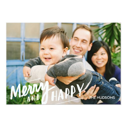 Hand-lettered Merry Happy Holiday Photo Card White