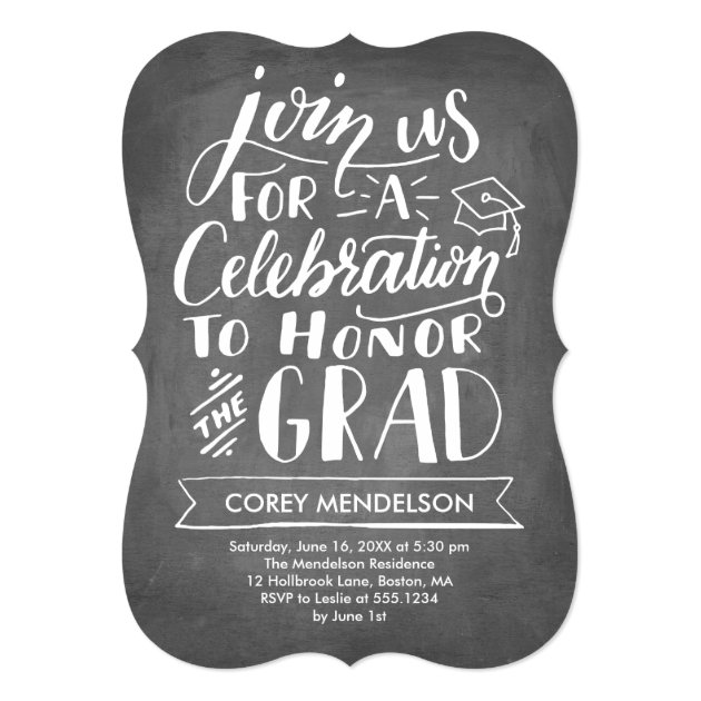 Hand Lettered Modern Chalkboard Graduation Party 5x7 Paper Invitation Card