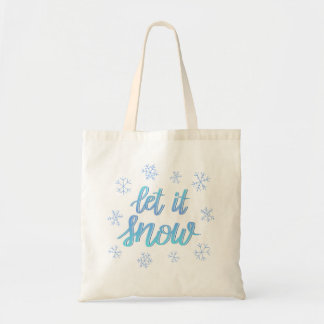 """Hand Lettered Ombre Snowflake """"Let It Snow"""" Tote"""