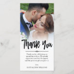 """Hand Lettered Overlay Thank You Wedding Photo<br><div class=""""desc"""">Photo card personalized with your own wedding photo. Thank you written in a gorgeous bold black brush script with a whimsical look. Personalize with a note to your wedding guests,  and with your names. The edge between wedding photo and text is softened with a white gradient.</div>"""