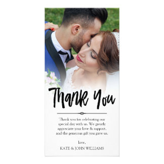 Hand Lettered Overlay Thank You Wedding Photo Card