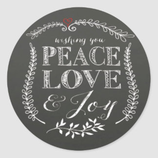 Hand lettered Peace Love Joy Chalkboard Holiday Classic Round Sticker