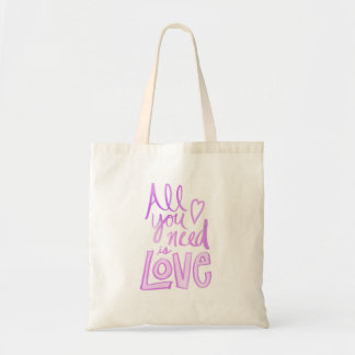 Hand lettered, pink love tote