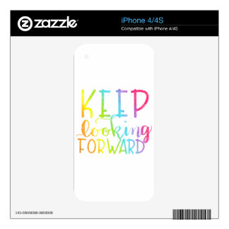 Hand Lettered Rainbow Keep Looking Forward Skin For iPhone 4