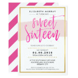 HAND LETTERED SCRIPT sweet 16 trendy hot pink gold Card