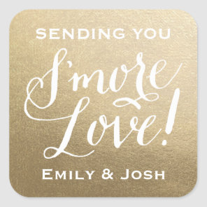 Hand Lettered S'more Love Gold Faux Foil Favor Square Sticker