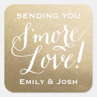Hand Lettered S'more Love Gold Faux Foil Favor Square Sticker