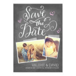 Hand lettered Snapshot 2-Photo Save the Date Card