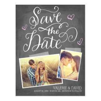 Hand lettered Snapshot 2-Photo Save the Date Postcard