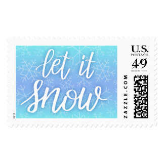 Hand Lettered Snowflake Blue Ombre Postage Stamps