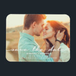 """Hand Lettered Style Save the Date Wedding Photo Magnet<br><div class=""""desc"""">A photo magnet is a perfect way to let your friends and family know about the engagement and wedding date. Trendy hand lettered look typography with a stylish mix of fonts in white is set against the background of your special photo. Customize your names,  wedding date / location.</div>"""
